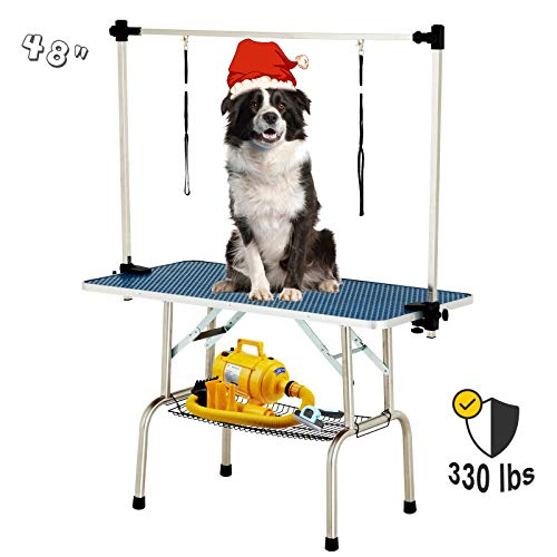 SUNCOO 48 Inch Portable Pet Dog Grooming Table for Large Dogs Professional Foldable Drying Trimming Table, Heavy Duty…