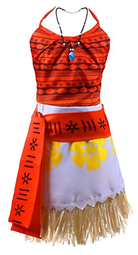 Wocau Moana Princess Adventure Costume Skirt Set Girl Halloween Party Outfit (9-10, (Top 10 Costumes)