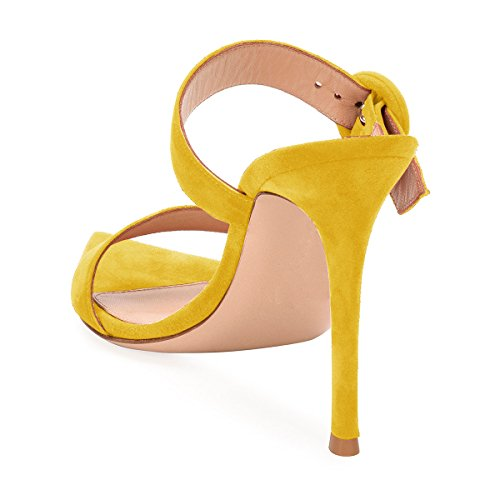 cheap price outlet FSJ Women Fashion Slip on Mules Faux Suede High Heels Sandals Open Toe Stilettos Shoes Size 4-15 US Yellow cheap official site cheap sale latest collections cheap sale 100% authentic c5A3FWog