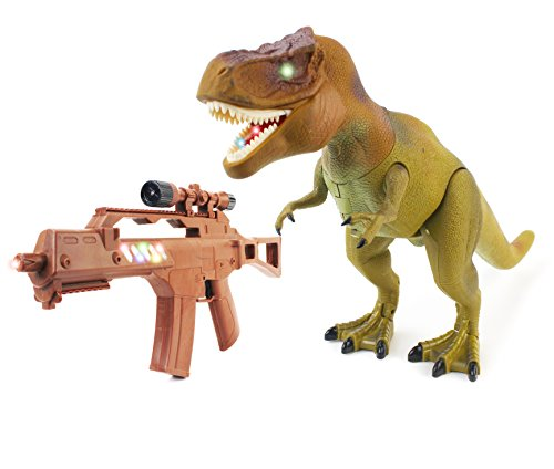The New World Of Dinosaurs Battery Operated Remote Controlled Toy T-Rex w/ Infrared Light Toy Gun Remote Control, Head Shaking Action, Walking Action, Lights & Sounds (T-rex Robot)