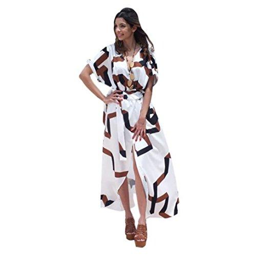 Wensltd Women's Bohemian Short Sleeve V neck Long Beach W...