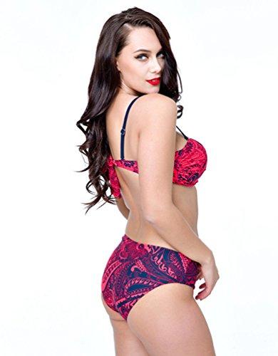NiSeng Verano Yardas Grandes Impresión De La Traje De Baño De Dos Piezas Push Up Bikinis Set Estilo De Para Mujer Rojo