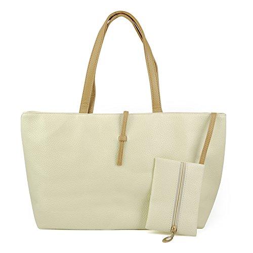 SODIAL (R) Koreanische Art Dame-Maedchen PU-Leder-Schulterbeutel Handtasche - Beige
