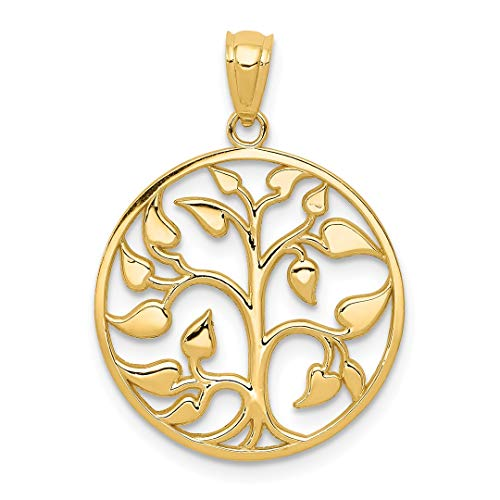 14k Yellow Gold Cut Out Tree Of Life Round Pendant Charm Necklace Inspiration Outdoor Nature Fine Jewelry For Women Gift Set