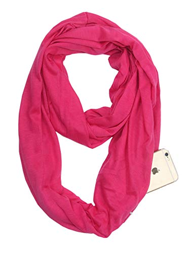 (Fashion Solid Color Scarf for Women Infinity Scarf with Zipper Pocket, Best Travel Scarf Rose Pink)