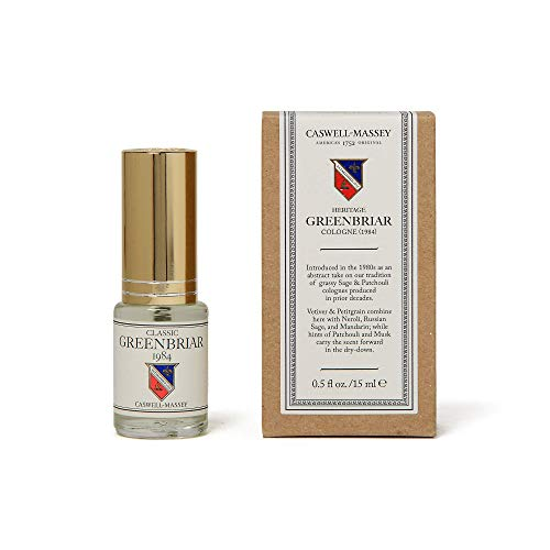 Caswell-Massey Classic Greenbriar Cologne Spray - Sporty Fragrance For Men With Sage, Patchouli, Mandarin and Vetiver Scent - Travel Size, 15 ml