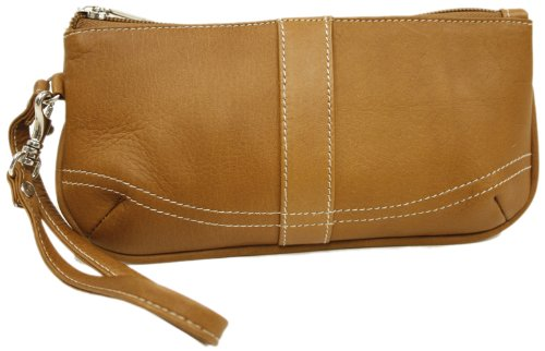 Piel Leather Large Ladies Wristlet, Saddle, One (Piel Leather Large Handbag)