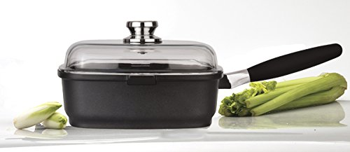 Eurocast Professional Cookware 10.25x10.25 Square Deep Saute Pan 3.2 L with Glass Lid and Removable Handle by Eurocast