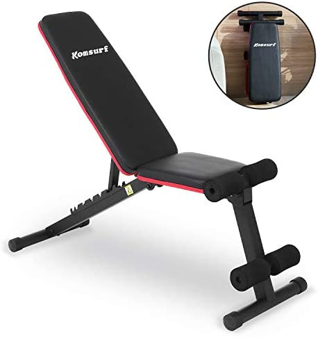 Komsurf Adjustable Weight Bench Press, Foldable Workout Bench for Home Gym, Full Body Workout Strength Training, Exercise Equipment Body Gym System 1