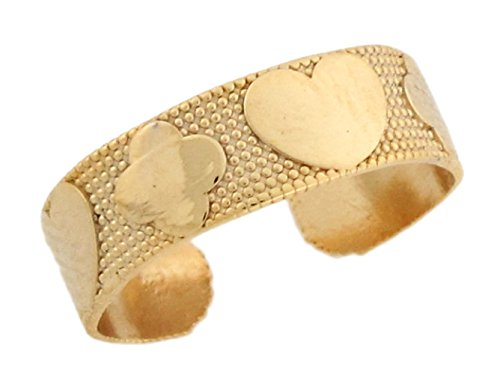 14k Yellow Real Gold Cross Heart Band Love & Faith Womens Toe Ring by Jewelry Liquidation (Image #1)