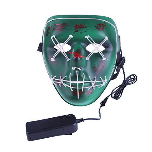 Leezo Frightening Wired Halloween Mask Cosplay LED Light up Mask for Festival Party Costumes Green]()