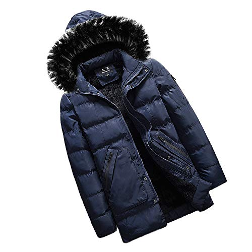 Warm Con Giacca Winter Jacket Da Sanfashion Cappuccio Uomo Casuale Blu Medium Hooded Scuro Coat zqqrdgw