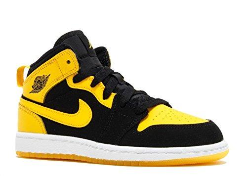 Nike Boy's Air Jordan 1 (Mid) Basketball Shoes Black/Varsity Maize-White 3Y (Girls Basketball Shoes Air Jordan)