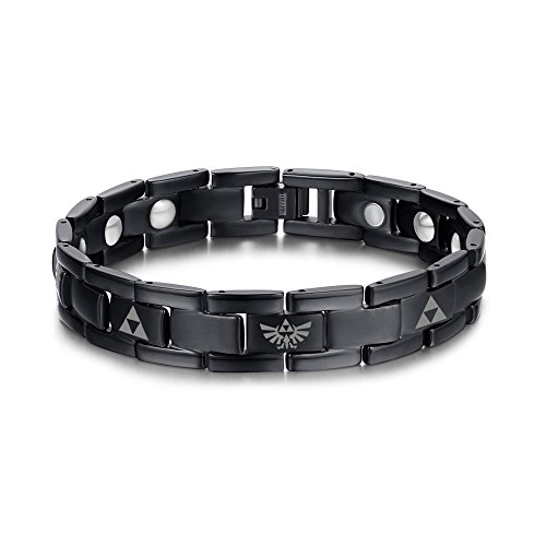 Magnetic Therapy Bracelet Jewelry Ring - VNOX Titanium The Legend of Zelda Triforce Symbol Magnetic Therapy Adjustable Bracelet for DAD
