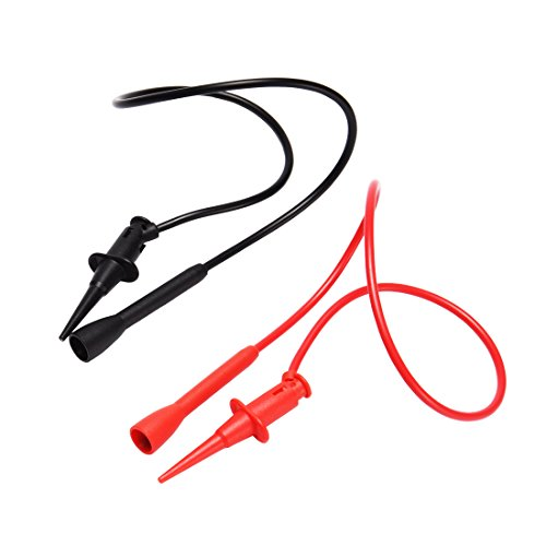 uxcell 1 Pair 1.7 ft 300V 3A CAT II Testing Clip Digital Multimeter Test Leads Cord Red Black