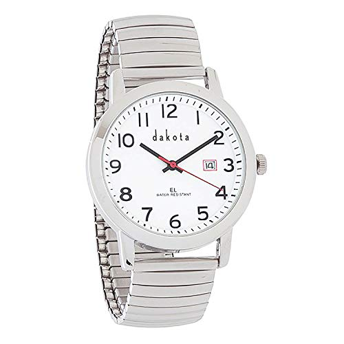 Dakota Easy Read EL Moonglow Stainless Steel Expansion Band Water Resistant Watch (Silver/White) (Steel Dakota Watches)