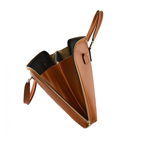 Echtes Leder Aktentasche Farbe Cognac - Italienische Lederwaren - Aktentasche