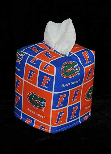"Gator Tissue Box Cover - FREE SHIPPING! 5"" x 5"" x 6"" Tissue Box Cover. Florida Gators – GO GATORS! Blue is darker in person. Fully lined & Hand Made."