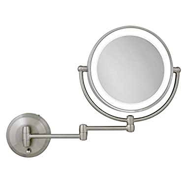 Zadro 10X-1X Next Generation LED Wall Mount Mirror, Satin Nickel