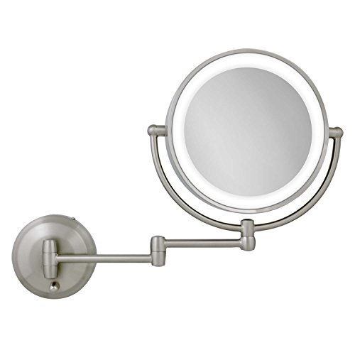 Zadro 10X 1X Magnification Next Generation LED Lighted Wall Mount Mirror, Satin Nickel