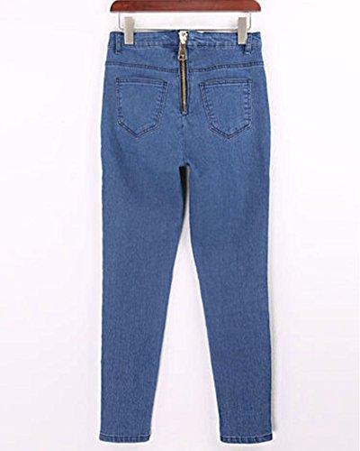 Mujer Azul Cintura Alta Elástico Cremallera Con Decoración up Leggings Vaqueros Pantalones Jeans Push Cai OOXrY