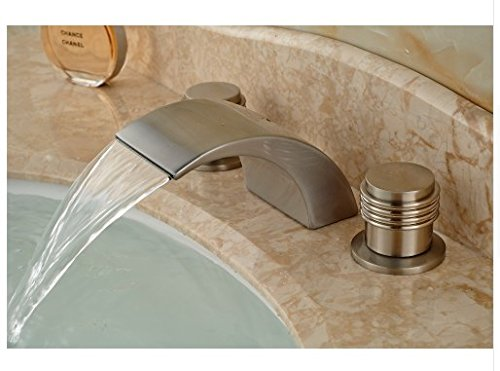 Gowe LED Waterfall Spout Bathroom Faucet Nickel Brushed Bsin Sink Mixer Tap Two Handles 1