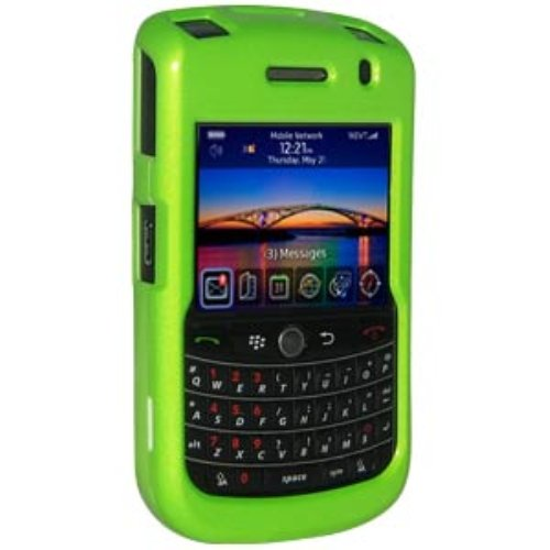 Green 9630 Tour - Amzer Polished Snap-On Crystal Hard Case with Belt Clip for BlackBerry Tour/Niagra 9630 - NeOn Green