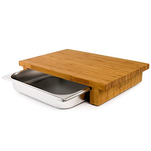Classic Steel Stainless Barbecue Countertop - cleenbo Chopping Board classic bamboo GN, wooden oiled bamboo countertop cutting board, with feet, big natural boards with stainless steel containers, Eco-Friendly, with tray 16.5 x 11.4 x 3 in