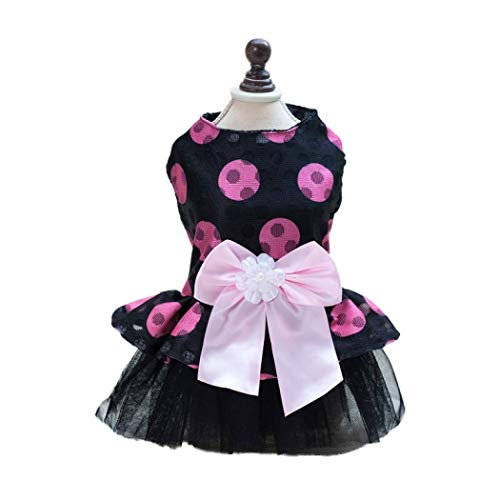 LVYING Dog Dress Bow Tie Mesh Dots Bow Printed Tutu Skirt Pet Spring Summer for -