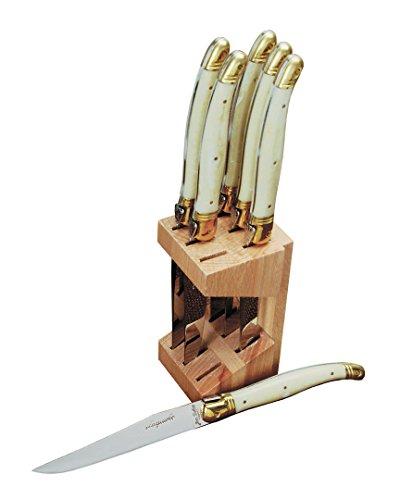 Jean Dubost JD12265-1311 6 Steak Knives In Wooden Block, Ivory