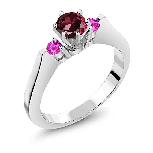 0.80 Ct Round Red Rhodolite Garnet Pink Sapphire 925 Silver 3-Stone (Garnet Pink Sapphire)
