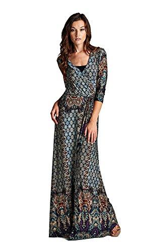 On Trend Women's Paris Bohemian 3/4 Sleeve Long Maxi Dress (X-Large, Teal)