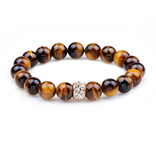 Winter's Secret Fashion Diamante Lucky Bead Natural Tiger Eye Stones Hand Beaded Energy Stretch Bracelet