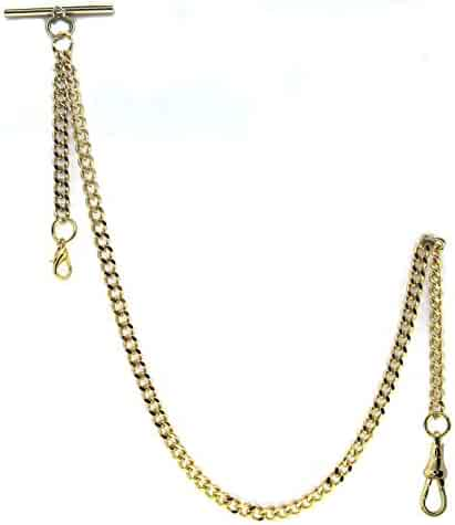 Gold Albert Chain Pocket Watch Curb Link Chain Fob T Bar + Swivel Clip + Lobster Clasp AC33