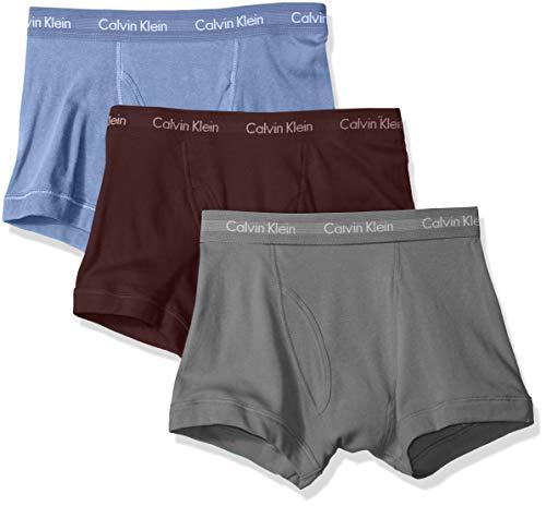Calvin Klein Men's Underwear Cotton Classics 3 Pack Trunks, Monument/Periwinkle/fire Brick, M
