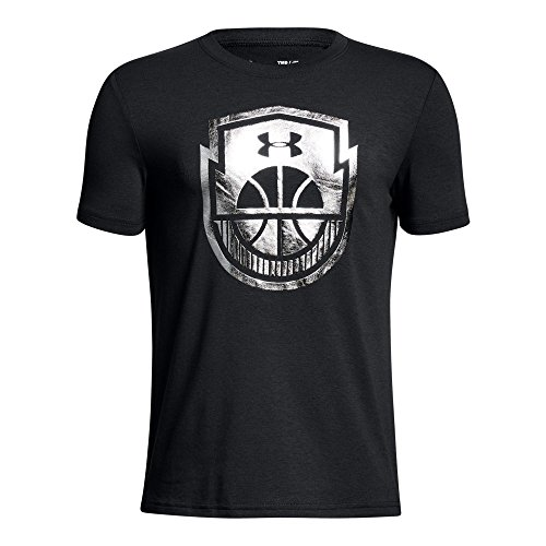 Under Armour Boys' Basketball Icon T-Shirt, Black (001)/Metallic Silver, Youth ()