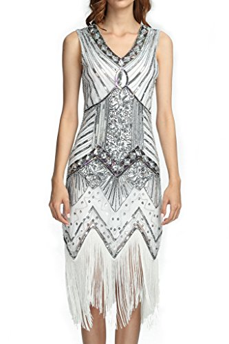 Silver 1920s Dress (Deargles Women 1920s Gastby Sequined Art Nouveau Embellished Fringed Flapper Dress XPR003 White Silver M)