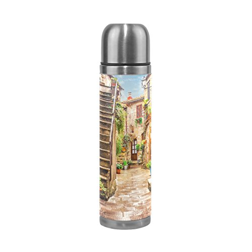ALAZA 17 oz Retro Alley in Old Town Pitigliano Tuscany Italy Double Wall Vacuum Cup Insulated Stainless Steel PU Leather Travel Mug, Christmas Birthday Gifts for Mom Dad Boys Girls Kids Lover Friends by ALAZA