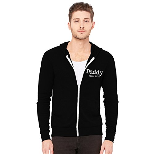 Decal Serpent Daddy Since 2018 Men's Triblend Full-Zip Lightweight Hoodie - [Black][L]