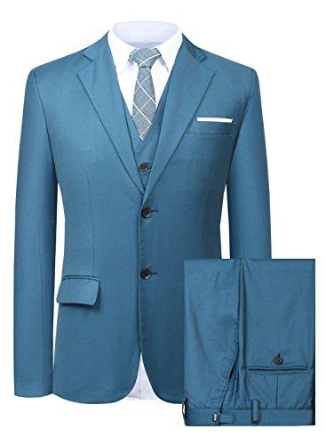 Men's Suit 3 Piece Busines Classic Solid Regular Fit Blazer Coat Vest Pants Set(Blue,44)