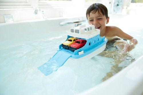 41Ydb%2Bc9fLL - Green Toys Ferry Boat with Mini Cars Bathtub Toy, Blue/White