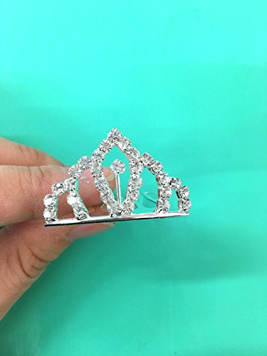 Set of 12 Pc Silver Rhinestone Princess Tiny Tiara / Princesses Theme Party / Cupcake Cake Topper / Breakfast At Tiffany 1