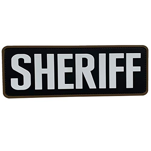 uuKen Large Sheriff Patch 8.5x3 Black and White for Tactical Vest Police Law Enforcement Plate Carrier (Black and White)
