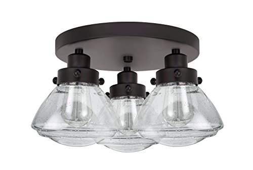(Aspen Creative 63015 Transitional Design in Finish with Clear Seedy Glass Flush Mount Ceiling Light Fixture, 14