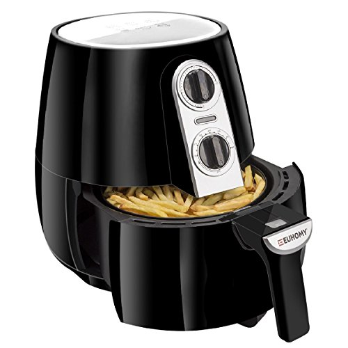 Euhomy Air Fryer, 4.2 Quart Electric Oil-Less Fryer with Smart Time & Temperature Control, Cookbook, 1500 Watt, Black Air Cooker Review