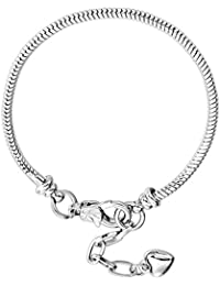 """10pcs White Silver Plated Heart Lobster European Snake Chain Bracelets fit Charm Beads 7.5"""""""