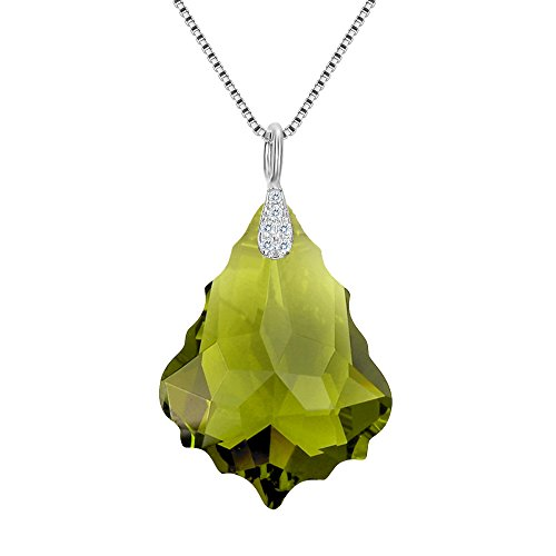 EleQueen 925 Sterling Silver CZ Baroque Drop Pendant Necklace Olivine Color Made with Swarovski Crystals Olivine Crystal Necklace