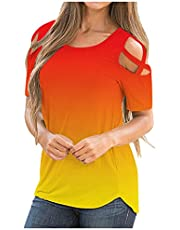 Strappy Cold Shoulder Blouse for Women Color Gradient Tops Crewneck Short Sleeve Tshirt Loose Casual Tees