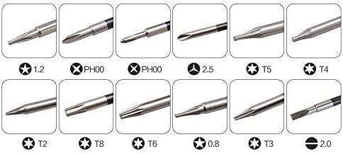 BST-666 12 1トルクスT2、T3、T4、T5、T6、T8において、フィリップスPH00、PH000、Pentalobe 5点0.8,1.2、スロット2.0、Y2.5精密ドライバーセット