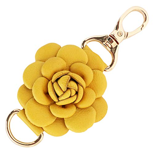 Genuine Leather Handmade Rose Charms | Pom Pom Keychain | for Tassel Bags Purse Backpack (Yellow - Rose)